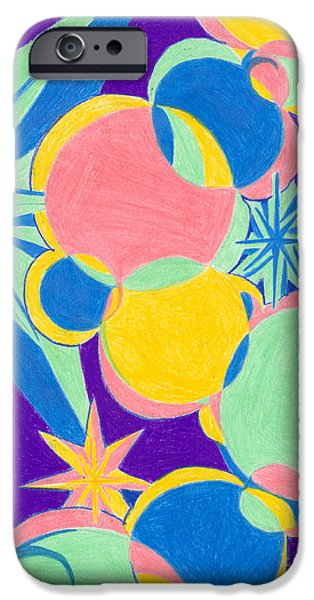 Colored Pencil Abstract Drawings iPhone Cases - Planets and Stars iPhone Case by Kim Sy Ok