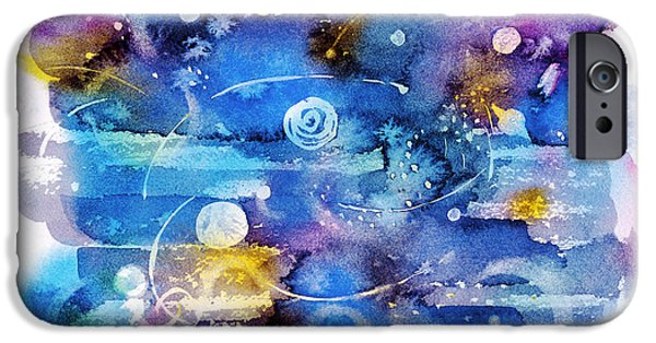 Outer Space Paintings iPhone Cases - Planets iPhone Case by Michele Angel
