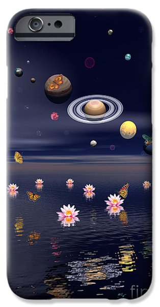 Exoticism iPhone Cases - Planets Of The Solar System Surrounded iPhone Case by Elena Duvernay