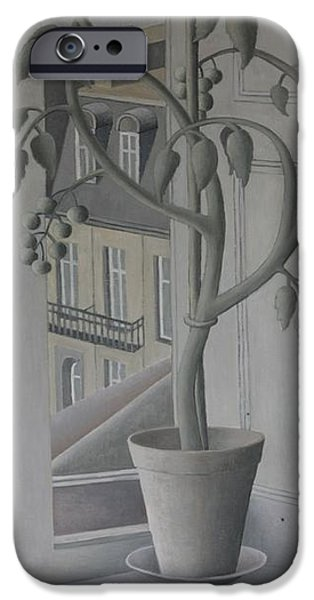Ledge Photographs iPhone Cases - Plant In Window, Oil On Panel iPhone Case by Ruth Addinall