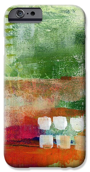 Contemporary Abstract iPhone Cases - Plantation- abstract art iPhone Case by Linda Woods