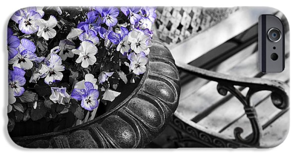 Selective Color iPhone Cases - Planter with pansies and bench iPhone Case by Elena Elisseeva