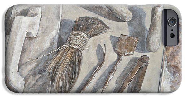 Work Tool Paintings iPhone Cases - Plasterer tools 1 iPhone Case by Anke Classen