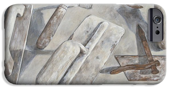 Work Tool Paintings iPhone Cases - Plasterer tools 2 iPhone Case by Anke Classen