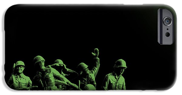 Army Men iPhone Cases - Plastic Army Man Battalion Black and Green iPhone Case by Tony Rubino