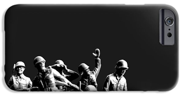 Army Men iPhone Cases - Plastic Army Man Battalion Black and White iPhone Case by Tony Rubino