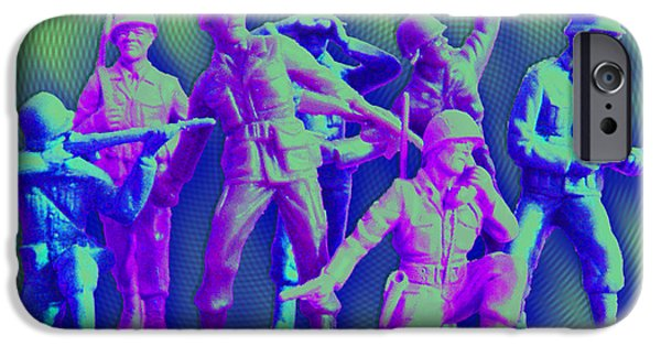 Army Men iPhone Cases - Plastic Army Man Battalion Pop iPhone Case by Tony Rubino