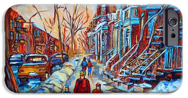 Plateau Montreal Paintings iPhone Cases - Plateau Montreal Street Scene iPhone Case by Carole Spandau
