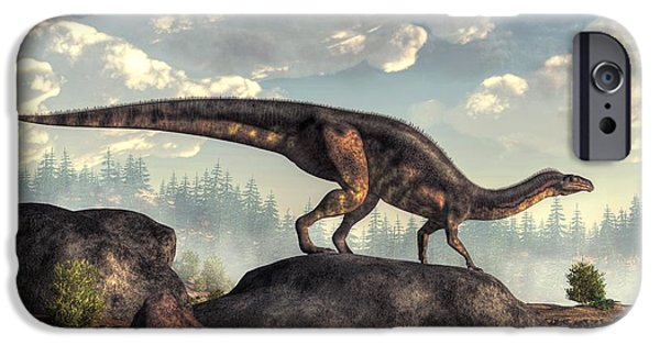 Triassic iPhone Cases - Plateosaurus iPhone Case by Daniel Eskridge