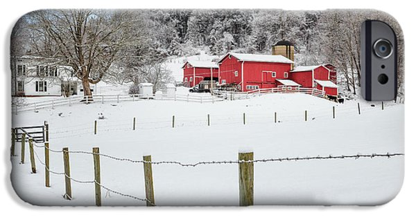 New England Snow Scene iPhone Cases - Platt Farm iPhone Case by Bill  Wakeley