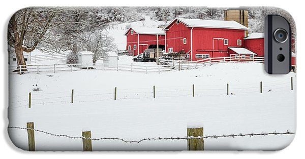 New England Snow Scene iPhone Cases - Platt Farm Square iPhone Case by Bill  Wakeley
