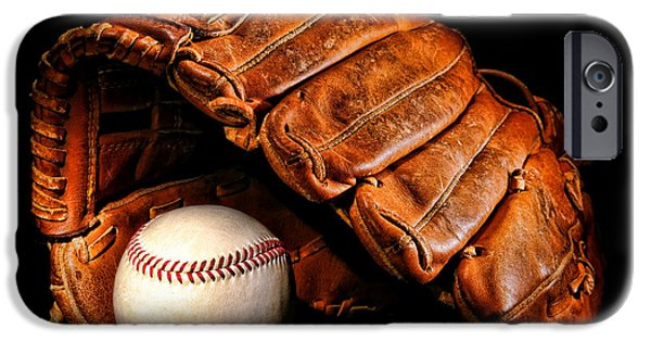 Baseball Glove iPhone Cases - Play Ball iPhone Case by Olivier Le Queinec