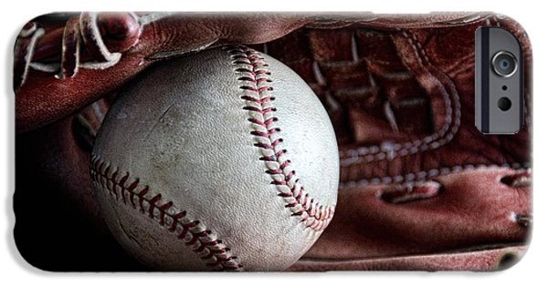 Baseball Glove iPhone Cases - Play Ball iPhone Case by Peggy J Hughes