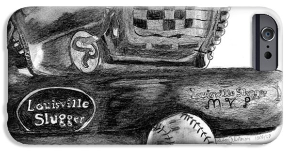 Baseball Glove Drawings iPhone Cases - Play Ball iPhone Case by Sean Fliehman