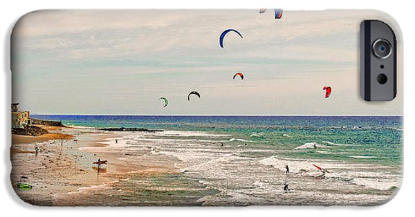Kite Boarding iPhone Cases - Play Day at County Line Beach iPhone Case by Lynn Bauer