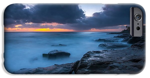 La Jolla Surfers iPhone Cases - PLay Misty Blue iPhone Case by Peter Tellone