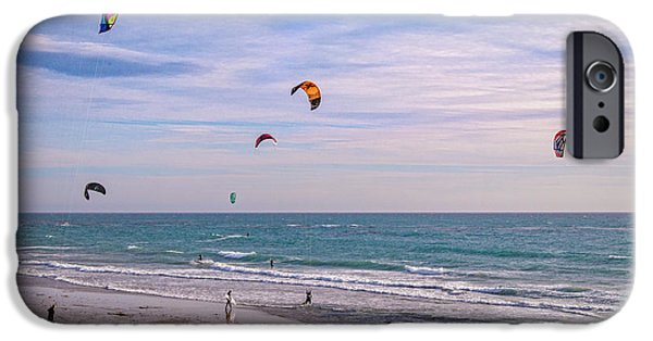 Kite Boarding iPhone Cases - Play Time at County Line iPhone Case by Lynn Bauer