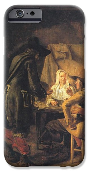 Domestic Scene iPhone Cases - Players at Tric-trac iPhone Case by Pieter de Hooch