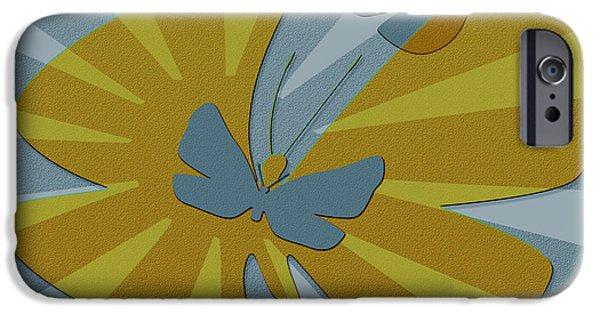 Ben Gertsberg Digital Art iPhone Cases - Playful Butterflies In Blue And Yellow iPhone Case by Ben and Raisa Gertsberg