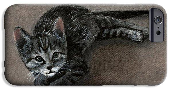 Stripes Pastels iPhone Cases - Playful Kitten iPhone Case by Anastasiya Malakhova