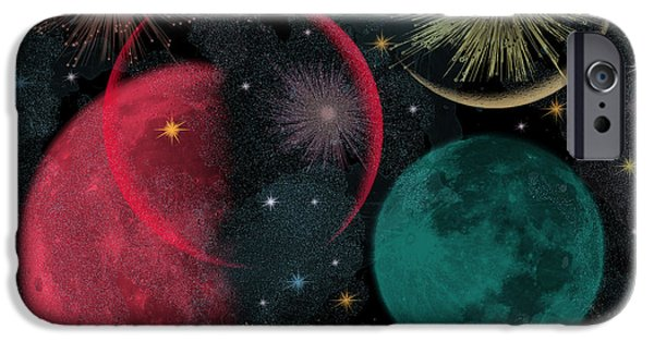 Abstract Night Sky iPhone Cases - Playful Night Sky digital painting for children iPhone Case by Georgeta Blanaru