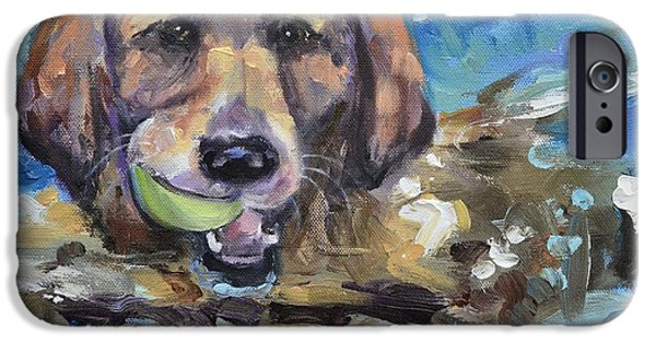 Puppies iPhone Cases - Playful Retriever iPhone Case by Donna Tuten