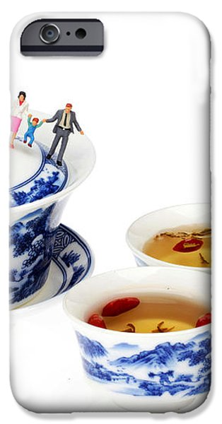 Playing among blue-and-white porcelain little people on food iPhone Case by Paul Ge