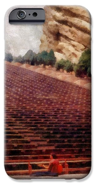 Playing at Red Rocks iPhone Case by Michelle Calkins