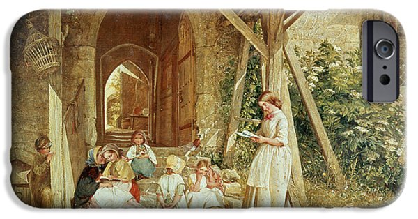 Education Paintings iPhone Cases - Playing at Schools iPhone Case by Charles James Lewis