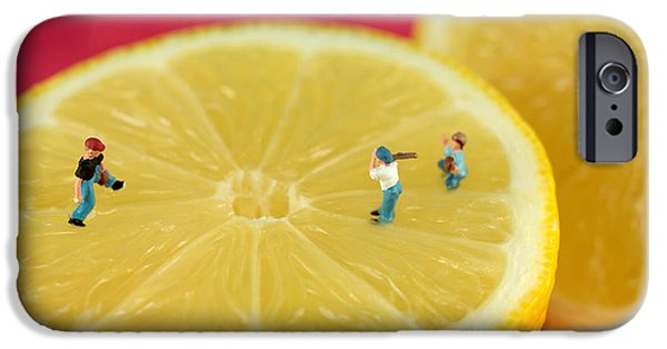 Youth Digital Art iPhone Cases - Playing baseball on lemon iPhone Case by Paul Ge