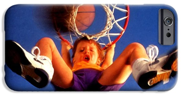 Bonding Paintings iPhone Cases - Playing basketball iPhone Case by Lanjee Chee
