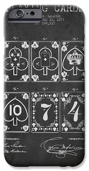 Cards Vintage iPhone Cases - Playing Cards  Patent Drawing From 1877 - Dark iPhone Case by Aged Pixel