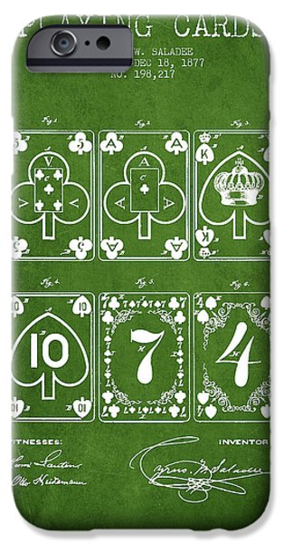 Cards Vintage iPhone Cases - Playing Cards  Patent Drawing From 1877 - Green iPhone Case by Aged Pixel