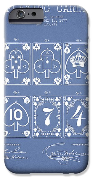 Cards Vintage iPhone Cases - Playing Cards  Patent Drawing From 1877 - Light Blue iPhone Case by Aged Pixel