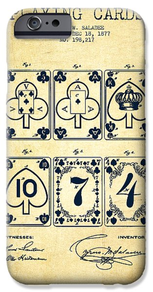Cards Vintage iPhone Cases - Playing Cards  Patent Drawing From 1877 - Vintage iPhone Case by Aged Pixel