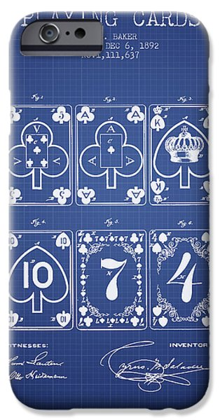 Playing Cards iPhone Cases - Playing Cards  Patent From 1877 - Blueprint iPhone Case by Aged Pixel