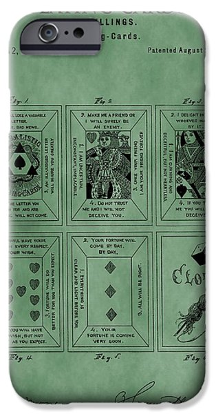 Queen Of Hearts iPhone Cases - Playing Cards Patent Green iPhone Case by Dan Sproul