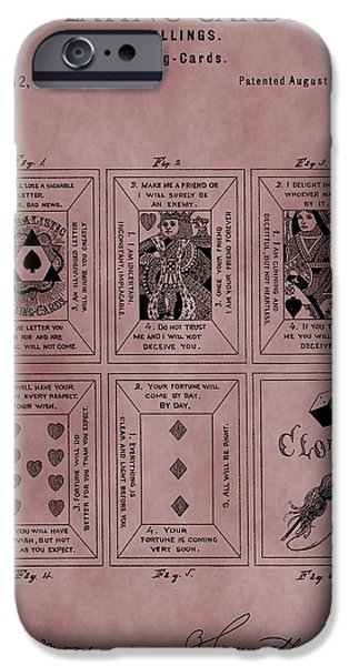 Queen Of Hearts iPhone Cases - Playing Cards Patent Red iPhone Case by Dan Sproul