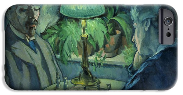 Board iPhone Cases - Playing Chess, 1925 Oil On Canvas iPhone Case by Jean Paul Kayser