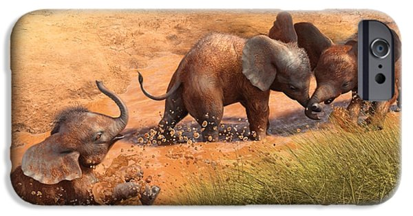 Elephants iPhone Cases - Playing in the Bath iPhone Case by Gary Hanna