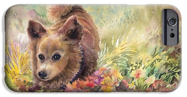 Dog In Landscape iPhone Cases - Playing in the Leaves iPhone Case by Marilyn Young