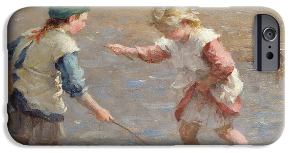 Young Paintings iPhone Cases - Playing in the shallows iPhone Case by William Marshall Brown