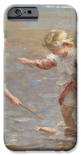 Playing in the shallows iPhone Case by William Marshall Brown