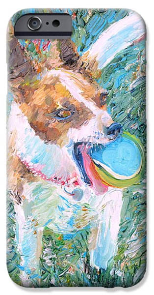 Dog With Ball iPhone Cases - Playing Is My Business...and The Business Is Good iPhone Case by Fabrizio Cassetta
