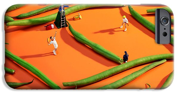 Tennis China iPhone Cases - Playing tennis among french beans little people on food iPhone Case by Paul Ge