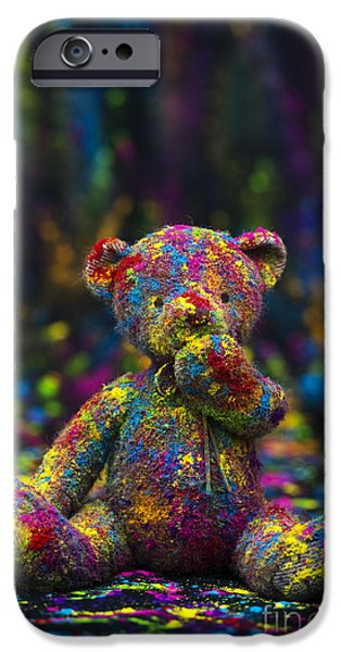 Playing with coloured powder iPhone Case by Tim Gainey