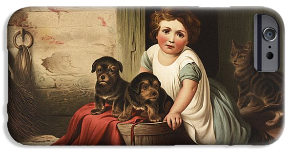 Puppies Drawings iPhone Cases - Playing with friends circa 1850 iPhone Case by Aged Pixel