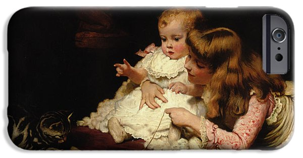 Little Girl Digital Art iPhone Cases - Playmates iPhone Case by Charles Burton Barber