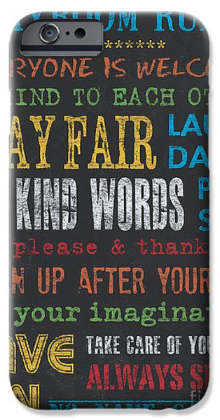 Play iPhone Cases - Playroom Rules iPhone Case by Debbie DeWitt