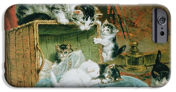 Cat Prints iPhone Cases - Playtime iPhone Case by Henriette Ronner-Knip